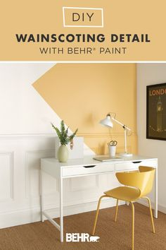 Feeling crafty this weekend? Take on this DIY wainscotting detail project featuring BEHR® Paint in Painter's White and Charismatic. It's a fun and easy way to create a modern accent wall or define a small home office area. Click below for the full tutorial.