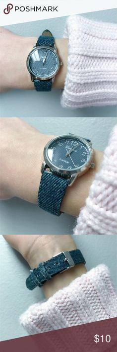 ✨ Vintage   Watch Very cute denim looking watch. Works perfectly. A few frays but not very noticeable :) make me an offer💕 Geneva Platinum Accessories Watches
