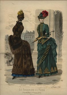 I adore the braid on the green dress. Le Salon de la Mode 1884