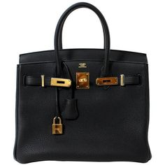 Pre-owned Hermes Black Birkin Bag- 30 cm Togo with Gold HW ($21,500) ❤ liked on Polyvore featuring bags, handbags, handbags and purses, hermes birkin bags and top handle bags