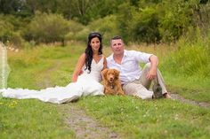 Erika and Trevor's wedding portraits with their dog at Lonestar Ranchn in Ottawa, Photographed by Liz Bradley of elizabeth photography.