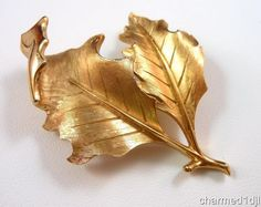 Vintage Crown Trifari Dbl Leaf Brooch Pin Brushed Gold Tone Lustrous Finish | eBay