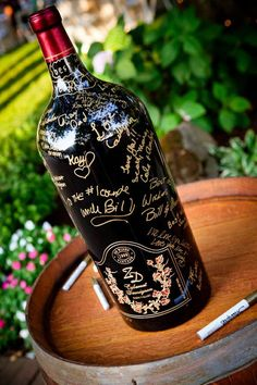 Wine Bottle Guestbook. Keep the wine bottle with signature marked by guests and open it up for your next anniversary to recall your sweet memory and light up your mood.