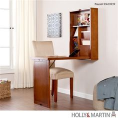 This compact desk is just like any other, until you are ready to pack up your things. Then, you can fold the desk up into the wall-mounted portion and use the space for something else. The storage are