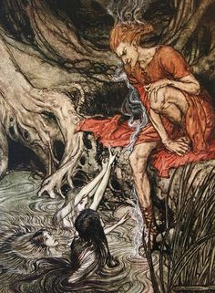 Favorite Arthur Rackham illustration for 'Der Ring des Nibelungen'. Click through to view 63 additional color plates at artpassions.net.