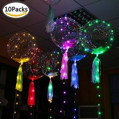 Mmiao 20 inch Transparent BOBO Balloons with Led String Lights, Creative Balloon for Birthday Wedding Christmas Party Decoration, Fillable with Helium Neon Birthday, 13th Birthday Parties, 14th Birthday, Slumber Parties, Birthday Balloons, Neon Party, Fiesta Party, Bolo Neon, 80s Party Decorations