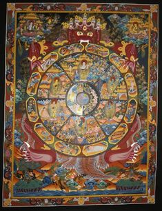 Wheel of life samasara hand painted master piece  tibetan thangka from nepal Wheel Of Life, Small Rings, Pilgrim, Tibet, Nepal, Buddha, Creatures, Hand Painted, Colours
