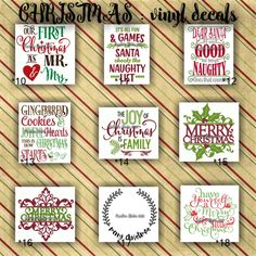 CHRISTMAS vinyl decals | christmas decoration | decal | sticker | decal for canvas | craft supplies | 10-18