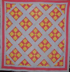 Block on point pieced quilt