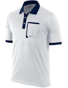 White and Navy Polo Shirt - Nautical Nike Polo Shirts, Golf Shirts, Camisa Polo, Polo Design, Striped Polo Shirt, Golf Outfit, Shirt Style, Nike Men, Menswear
