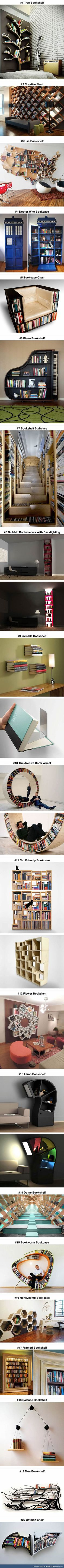 Probably the most creative bookshelves ever. I NEED THEM ALL