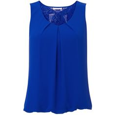Jacques Vert Chiffon Lace Blouse, Cobalt ($115) ❤ liked on Polyvore featuring tops, blouses, v neck blouse, tie blouse, blue chiffon blouse, plus size lace tops and blue lace blouse