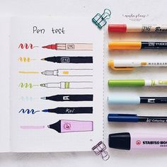 9 Ridiculously Useful Bullet Journal Tips For Beginners Masha ( pen test spread in my Bullet Journal Bullet Journal Stylo, Bullet Journal Markers, Pens For Bullet Journaling, Bullet Journal 2019, Bullet Journal Hacks, Bullet Journal Notebook, Bullet Journal Ideas Pages, Bullet Journal Inspiration, Bullet Journal Ghosting