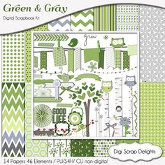 Green & Gray Kit and Digital Scrapbook FREEBIE with Project Life Cards