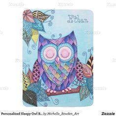 Personalized Sleepy Owl Baby Blanket