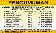 Jadwal Pembayaran SPP, Praktikum, UKT & Pengambilan KRS Semester Genap 2014/2015
