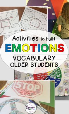 Working with older students in speech therapy and counseling can be challenging!  Here are easy, fun therapy ideas for middle school and teen students to target emotions and feelings.  There are even links to free worksheets to help students identify and express their emotions!  #emotions #socialskills
