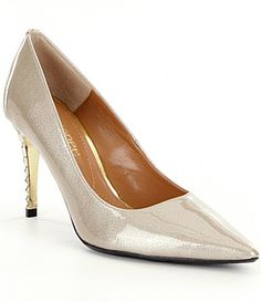 J Renee Maressa Pearlized Patent Metal Embossed Heel Pumps #Dillards