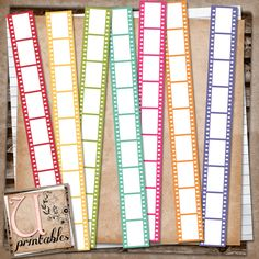 RebeccaB Designs: FREE Printable - Coloured Film Strips