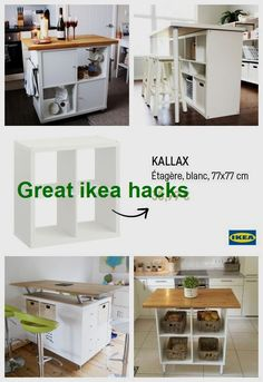 The IKEA Kallax collection Storage furniture is a vital part of any home. Trendy and wonderfully easy the corner Kallax from Ikea , for example. Kitchen Island Ikea Hack, Ikea Kitchen, Kitchen Islands, Kitchen Banquette, Ikea Hacks, Hacks Diy, Ikea Closet Hack, Ikea Bookcase, Ikea Storage