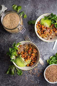 Warm Lentil and Tomato Salad with chilli roasted chickpeas. A delicious vegan meal!
