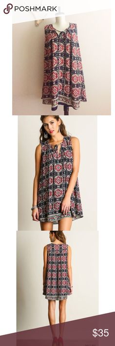 Gypset sleeveless tunic summer resort dress - Love this boho chic summer tunic style dress. Great for your next resort getaway vacation!  Marrakesh sleeveless print dress with front tie ~ navy / red mix  65% Cotton / 35% Poly  Hand wash cold / hang to dry Umgee Dresses Midi