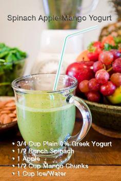 spinach apple mango yogurt #homemadeproteinshake