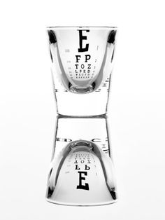 Eye chart shot glass