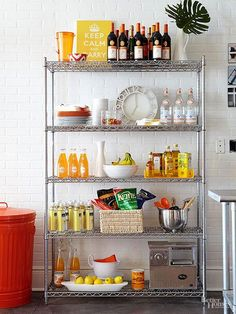 This stainless rack from Bhg.com  is styled with livelier happy colors.  Create something like this to liven up your rental unit.