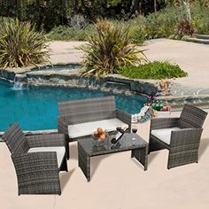 Giantex 4 Pc Rattan Patio Furniture Set Garden Lawn Sofa Cushioned Seat Mix  Gray Wicker