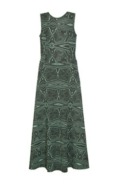 This **Lilly Sarti** Long Flared dress features a sleeveless silhouette with an a-line shape and an open back cutout.