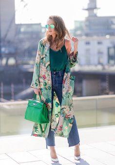 kimono long femme vert motifs floraux sac vert