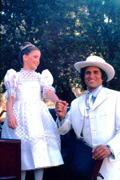 "Melissa Gilbert stars with Michael Landon behind the scenes of: ""Over the Rainbow,"" on Little House on the Prairie."