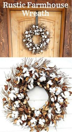 Farmhouse Wreath-Cotton Wreath 2019 Farmhouse Wreath-Cotton Wreath The post Farmhouse Wreath-Cotton Wreath 2019 appeared first on Cotton Diy. Rustic Farmhouse Decor, Rustic Decor, Farmhouse Front, Farmhouse Furniture, Farmhouse Style, Joanna Gaines, Fixer Upper Decor, Cotton Wreath, Wreaths For Front Door