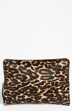 Lanvin 'Oversize' Leopard Print Calf Hair Clutch available at #Nordstrom