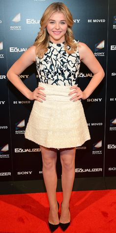 Chloe Grace Moretz made a chic appearance at The Equalizer screening in an ecru-and-white woodblock-plaster jacquard Proenza Schouler dress and black pumps. #InStyle