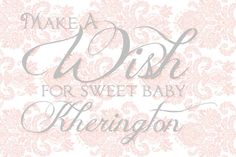 Baby wish sign for vintage damask baby shower! Pink Damask, Party Scene, Wishes For Baby, Shower Invitations, Baby Shower, Signs, Handmade Gifts, Vintage, Etsy