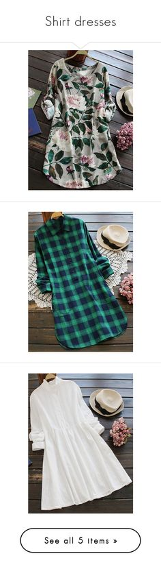 """""""Shirt dresses"""" by rosegal-official ❤ liked on Polyvore featuring dresses, button up dress, floral print dress, button down dress, floral print shirt dress, t-shirt dresses, shirt dresses, blue dress, tartan shirt dress and tartan plaid dress"""