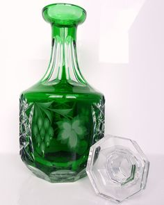 Amazing Thick Lead Crystal Decanter with a stopper. It is very heavy, of great…