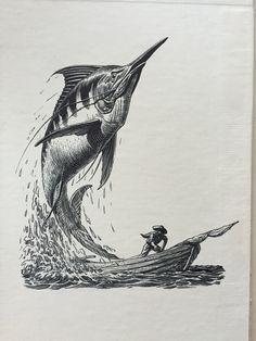 The old man and the sea illustration Hemingway Tattoo, Sea Drawing, Sea Illustration, Sea Tattoo, Sea Art, Sea Monsters, Fish Art, Old Men, Sea Creatures