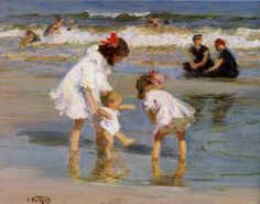 Playing at the Seashore by Edward  Henry Potthast. You can almost feel the wind and hear the waves.