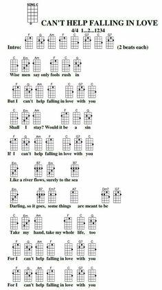 Can't Help Falling in Love with You Elvis Presley uke Guitar Chords And Lyrics, Easy Guitar Songs, Guitar Chords For Songs, Piano Songs, Music Guitar, Acoustic Guitar, Ukulele Art, Ukulele Cords, Guitar Chord Chart