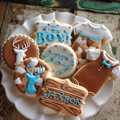 Little Deer Hunter / Hunting Baby Boy  Shower Camo Decorated Sugar Cookies