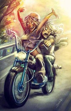 My birthday gift for LittleKuriboh: Marik riding his motorcycle looking all sexy! X) Ygotas - The Motorcycle Motorcycle Art, Bike Art, Motorcycle Posters, Art Harley Davidson, David Mann Art, Cycling Art, Biker Girl, Fantasy Art, Comic
