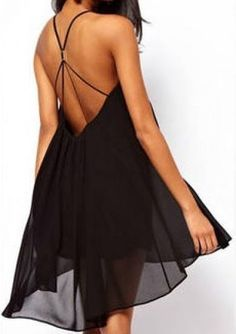 Black Spaghetti Strap Backless Chiffon Dress