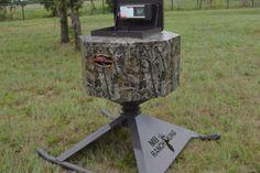 The Ranch King Mighty Midget Corn Feeder holds 500 lbs. of deer corn. Deer Corn, Duck Hunting Blinds, Small Pontoon Boats, Deer Feeders, Duck Blind, Racoon, Hunting Season, The Ranch, Sled