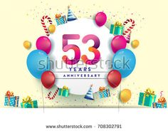 53rd years Anniversary Celebration Design with balloons and gift box, Colorful design elements for banner and invitation card.