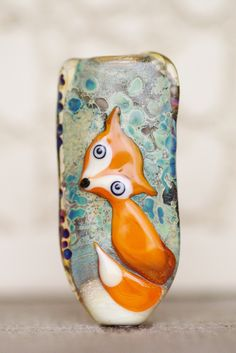 Lampwork bead, glass. Fox.