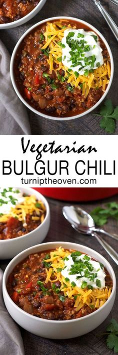 Vegetarian Bulgur Chili -- Whole grain bulgur is the not-so-secret ingredient in this simple, hearty, and healthy vegetarian chili. Vegetarian Chili, Vegetarian Recipes, Healthy Recipes, Chili Recipes, Vegetable Recipes, Salad Recipes, Whole Food Recipes, Cooking Recipes, Gluten Free Recipes