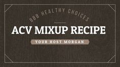 Apple Cider Vinegar mix up brew with attitude